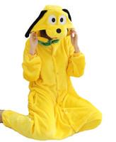 adult goofy costumes - Warm Pajamas Goofy Adult Cartoon Pajamas Cosplay Lovely Couple Homewear Flannel Hooded Long Sleeves Lounge Wear Pyjamas Set K60L
