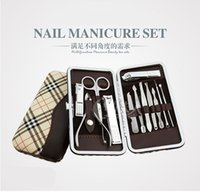 Wholesale 12 set Nail Art Manicure Tools Set Nails Clipper Scissors Tweezer Knife Manicure Sets Stone Pattern Case For Nail Manicure