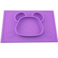 Wholesale Bear shape Silicone Children Kids Baby silicon bowl One piece silicone placemat with plate Baby feeding silicone cups dishes Christmas gift