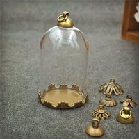 Wholesale Crown Pendant Necklace Wholesale - 10pcs lot 38*25mm tube glass globe bottle with bronze crown base set glass dome cover glass vial pendant charms handmade glass vial jewelry
