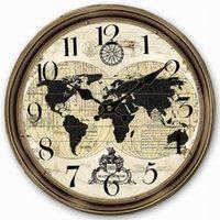 antique world globe - Retro Vintage Style Large Clock World Map Globe Home Decorative Wall Clock Wood CM