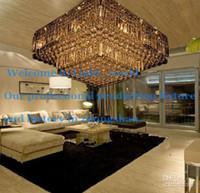 Cheap L60 70 80cm Modern Crystal Square Ceiling Chandelier Lamp Light Lighting Transparent Water Droplets For Living Room Bedroom 1002
