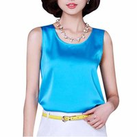 Wholesale 2016 Summer Tank Tops for Women Sleeveless Vest Chiffon Shirts Women Solid Color Bright Silk Plus Size Tank Top Ladies Colors