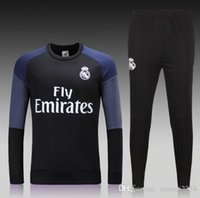 Wholesale Thai quality Football tracksuit Black printed sleeve Real Madrid soccer training suit long sleeve sweatshirts Men shirts