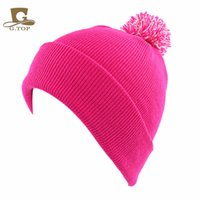beanie bobble hat - Unisex Ladies Winter Warm blank Knit Knitted Beanie Slouch Bobble Pom cuff Hat