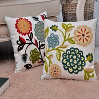 adult room colors - New High Quality Cotton Embroidery Pillow Cover Living Room Sofa Cushions Five Colors Square Pillowcase X45CM
