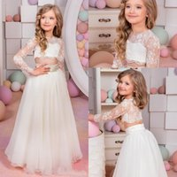 Wholesale 2016 Two Pieces Flower Girls Dresses For Weddings Jewel Neck Long Sleeves Lace Princess Birthday Dress Children Party Kids Girl Ball Gowns