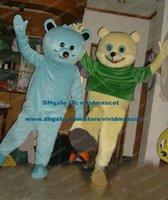 big foot t shirt - Well Light Blue Yellow Teddy Bear Mascot Costume Cartoon Character Mascotte Adult Big Feet Green T shirt Red Nose ZZ1269 Free Sh