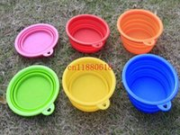 Wholesale 100pcs New Style Pet Dog portable bowl Silicone Collapsible Travel Bowl Dish For samll pet