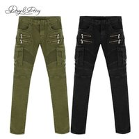 Wholesale High Quality Men Biker Jeans Fashion Army Green Black Denim Straight Skinny Washed Casual Pants Zipper Solid Jeans Men DT