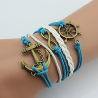 america support - Burst models in Europe and America leaves love hot hand woven bracelets anchor bracelet retro infinity eight multilayer support mixed batch