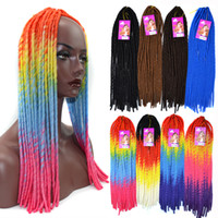 Wholesale soft dread lock inch kanekalon hair rope braid ombre color valid