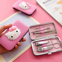 Wholesale HelloKitty nails boxes KT nails cartoon manicure set Portable lovely manicure tools