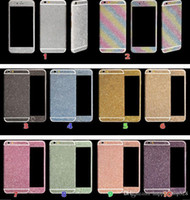 Plastic apple rainbow stickers - Luxurious Full Body Bling Diamond shiny Glitter Rainbow Front Back Sides Skin Sticker cover For Iphone G p plus sumsung s7 s4 s5 s6