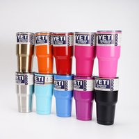 Wholesale YETI Tumbler Rambler Cups OZ Double Stainless Steel Tumbler Tea Cups And Mugs Yeti Cup Cooler OZ Pink Travel Mug Coffee