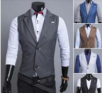 Wholesale Fashion New Korean fall dress vests for men suit vest delicate buckle collar design clothing two handsome men vest casual men hot sell