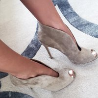 ankle suede booties - Hot Sale Custom Made Big Size Suede Leather Booties Peep Toe Women Boots Grey Sand Tan