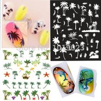 beach umbrella art - 10PCS Styles D Black White GREEN Tree Art Nail Sticker Shell Starfish Crab Beach Umbrella Designs Gel Nail Tools