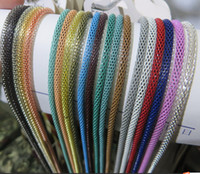 Wholesale Colorful Plain Chain Necklace Long Netted Chain Necklace Rounds Bracelet Colored Plated Simple Classic Hollow Chain Jewelry