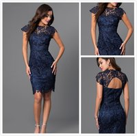 Wholesale Modern Navy Blue Lace Short Cocktail Dresses Mermaid Lace Cap Sleeve Mini Evening Dress Formal Women Special Occasion Party Gowns Kleider