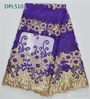 Wholesale Beautiful flower pattern imbroidered African lace fabric with sequins Swiss lace material for Wedding DPL51