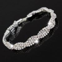 Wholesale Bling Created Diamond Jewelry Bracelets For Women Crystal Female Bracelets Statement Wedding Jewelry Femme Pulseras Mujer B0184