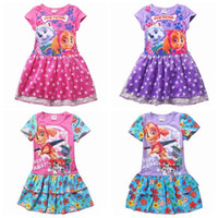 Wholesale 2016 New My Little Pony paw baby Clothes Girl Printed Princess Short sleeve Dress Children Kids Dresses for Girls patrol Clothing