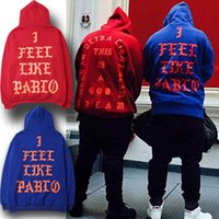 Wholesale 2016 Spring autumn Kanye West Hoodies I FEEL LIKE PABLO Hooded Sweatshirts Men Hip Hop Lover Streetwear Red Blue Color S XL