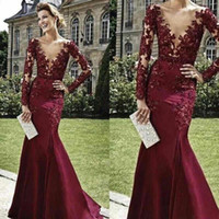 Cheap New Dresses Evening Wear Sexy Deep V-Neck Long Sleeves Burgundy Appliques Lace Beaded Mermaid Long Formal Prom Dress Cocktail Party Gown