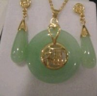 ad necklace - gt gt gt Beautiful Natural Jade Pendant and pair of Earrings Set A S D AD FE1