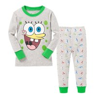 baby spongebob squarepants - 6 sets Kids Cartoon Pajamas Baby Boys Girls SpongeBob Squarepants Pijamas Children Long Sleeve Cotton Pyjamas For yrs