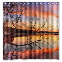 beach curtains - Lake Sunset Trees Beach Night Reflection Design Shower Curtain Size x cm Custom Waterproof Polyester Fabric Bath Shower Curtains