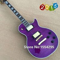 Wholesale Top factry Custom LP Electric Guitar Flamed Maple Top Purple color guitarra All Color are available