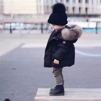big fur hats - 2017 Winter Thicken Warm Children Down Cotton Coats Parkas Fashion Big Fur Hats Hooed Jackets Brand Boys Girls Clothing Warm