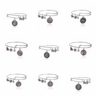 Wholesale 26 letter Alex and Ani Bangles Charm statement bracelets gold silver Wiring expandable pendant bangles band cuffs