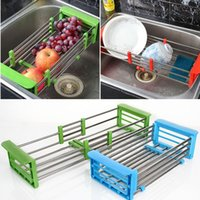 adjustable dish drainer - New Arrival retractable stainless steel wicker baskets Adjustable Shelf fruit vegetable draining rack tray dish drainer