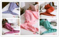 Wholesale 10pcs Kintted Mermaid Tail Blanket cm Adult Children Baby Sleeping bags Handmade Pink Green Deep Pink Red Violet