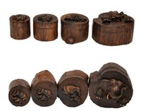 Wholesale Wooden handicrafts ring box solid wood jewelry box Wooden ring pillows Old wooden round box