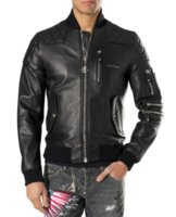 Wholesale 2016 mens slim fit star famous brand pp fashion designer style medusa g biker men homme leather bomber motorcycle jacket coat balmain d