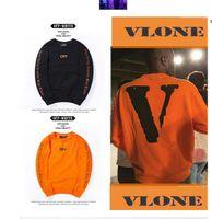 Wholesale Winter warm Off White VLONE Hoodies Men hoodie Sweatshirt High Quality Big V Off White VLONE Hoodies