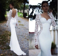 Wholesale Sexy 18 Image - New Sexy Backless Lace Long Sleeve White Ivory Mermaid Trumpet Wedding Dress Bridal Gown Custom Made 2 4 6 8 10 12 14 16 18 20 22 24 26 28