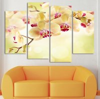Cheap 4 Panel Modern Printed Orchid Flower Painting Pictures Cuadros Canvas Art Painting Home Decor For Living Room No Frame H079