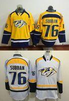 arrival order - 76 P K Subban New Arrivals Men Nashville Predators Yellow White Ice Hockey NHL Stitched Jerseys Free Drop Shipping lymmia Mix Order
