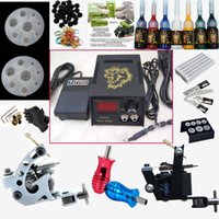 Cheap Professional Hot Complete Tattoo Kits Set 2 guns machines 7 ink sets power supply foot pedals TK156