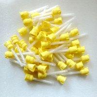 Wholesale 50 pieces Dental materials silicon rubber mixing head conveyor gun yellow blending tips teeth care