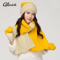 Wholesale New Design Scarves Gloves Hat Winter Set Korea Stylish Scarfs and shawls Thick Muffler knitted Winter winter Hat Fashionable