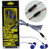 Wholesale Black XBT braided headset In Ear Earphone for iphone6 s plus s plus for iphone7 plus for samsung note7