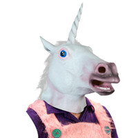 adult toys suppliers - Halloween Suppliers Accoutrements Magical Unicorn Mask Latex Animal Costume Prop Toys Party Halloween