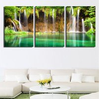 abstract art pics - 3 Pic Wall Art Landscape Canvas Paintings Home Decor Green trees Waterfall Pictures Quality Canvas On Wall Cuadros Decoracion