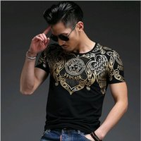 Wholesale 2016 men s fashion spring new men cool tops Gilded design O neck short sleeved t shirt printing slim bottoming shirt men t shirts
